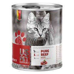کنسرو غذای گربه یو اس پت مدل beef pure