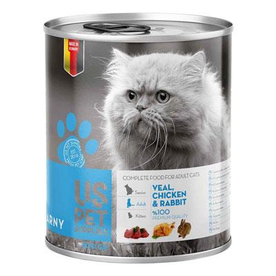 کنسرو غذای گربه یو اس پت مدل veal and rabbit مقدار 400 گرمی