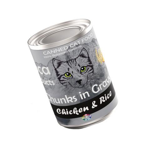کنسرو گربه لوکا با طعم مرغ و برنج 425 گرم