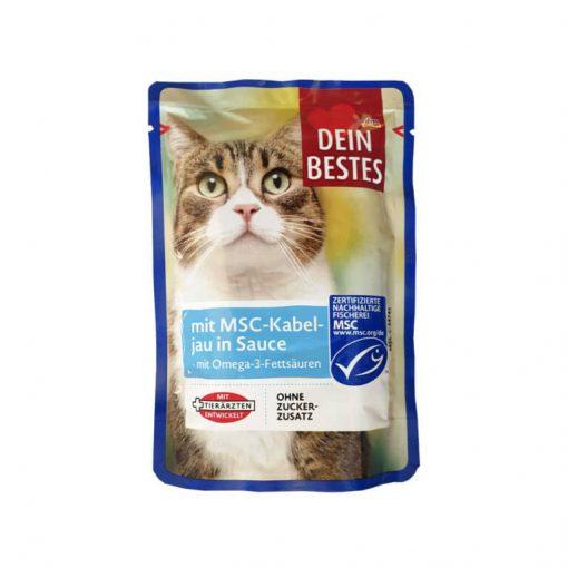 پوچ گربه دین بستس با طعم ماهی کاد در سس مخصوص