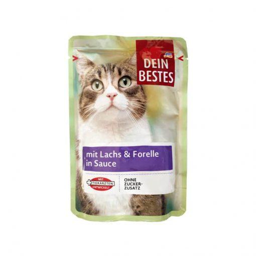 پوچ گربه دین بستس حاوی ماهی سالمون و قزل آلا در سس مخصوص