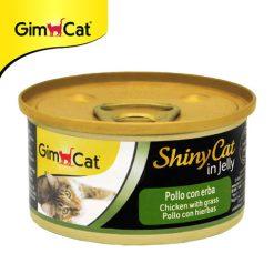 کنسرو گربه جیم کت با طعم مرغ و علف گربه وزن ۷۰ گرم